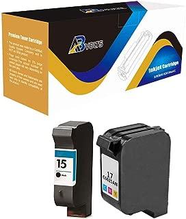 AB Volts Remanufactured Ink Cartridge Replacement for HP 15 & HP 17 for DeskJet: 810 810C 812 812C 825 825C 825Cvr 840 840C 841 841C 842 842C 843 843C 845 845C 845Cvr 920 920C (Black Color,2-Pack)