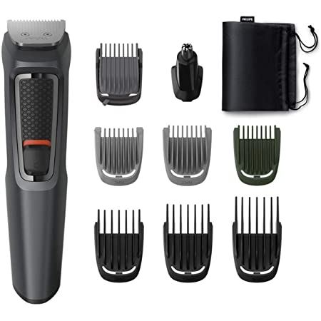 Philips MG3747/15, 9-in-1, Face, Hair and Body - Multi Grooming Kit. Self Sharpening Stainless Steel Blades, No Oil Needed, 70 Mins Run Time (Black)