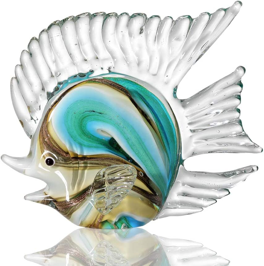 Anecdotal Aardvark Art Glass Blue Swirled Fish Sculpture Year-end gift Gold OFFicial