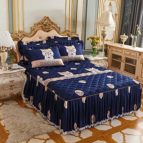 CYYyang Protector de colchón, algodón, poliéster, Falda de Cama Individual de Sarga gruesa-11_180 * 220cm