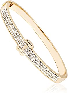 Bazel Gold Plated or White Gold Plated Crystal Belt Bangle Made with Swarovski Elements