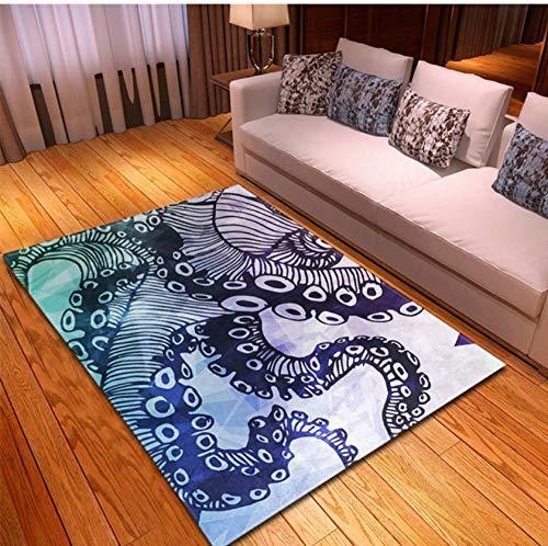 Laqemhu Alfombra Retro para decoración del hogar, Sala de Estar, área de sofá, Alfombra Cuadrada de poliéster, Alfombrilla con Estampado de Pulpo Creativo, 80 cm x 150 cm