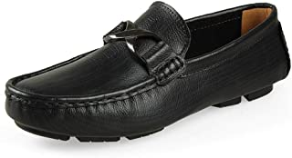 Rui Landed Leisure Driving Loafers for Men Casual Penny Shoes Slip On Metal Buckle Round Toe Stitch Genuine Leather Perforated Lightweight Durable (Color : Black, Size : 45 EU)