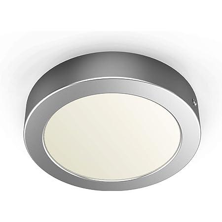 B.K.Licht spot LED en saillie rond, éclairage intérieur plafond, platine 12W intégrée, remplace 80W halogène, blanc chaud 3000 Kelvin, 900lm, Ø 170mm, argent mat, IP20