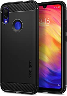 【Spigen】 Xiaomi Redmi Note 7S / Note 7 Pro/Note 7 対応 ケース TPU 米軍MIL規格取得 耐衝撃 衝撃吸収 傷防止 カメラ保護 Qi充電 ワイヤレス充電 ラギッド・アーマー S34CS26086 (マット・ブラック)