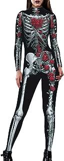 Womens Hi-Neck Skeleton Print Bodycon Jumpsuits Fullbody Unitard