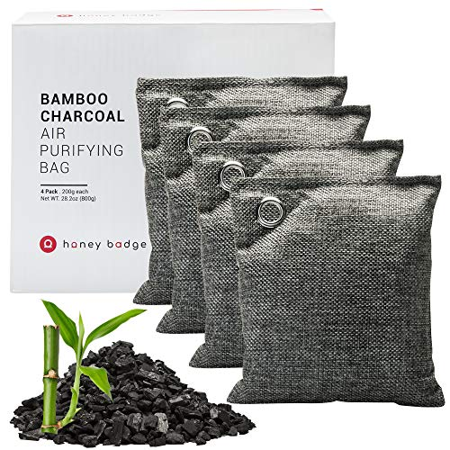 Charcoal Bamboo Air Purifying Bags (4 Pack)- Odor Absorber Activated