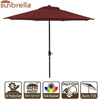 Garden Umbrella with Crank and Auto Tilt 9 Feet Patio Market Table Umbrella Sunbrella Fabric Canvas Cornell Brick Red (9' Crank & Tilt, Brick Red Cornell)