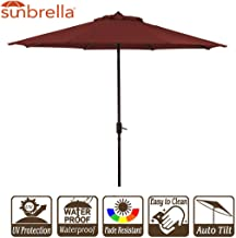 9' Patio Umbrella Outdoor Table Umbrella 9 FT Market Backyard Garden Patio Umbrella w/Crank and Auto Tilt Sunbrella Fabric Brick Red Cornell (9', Sunbrella Brick Red)