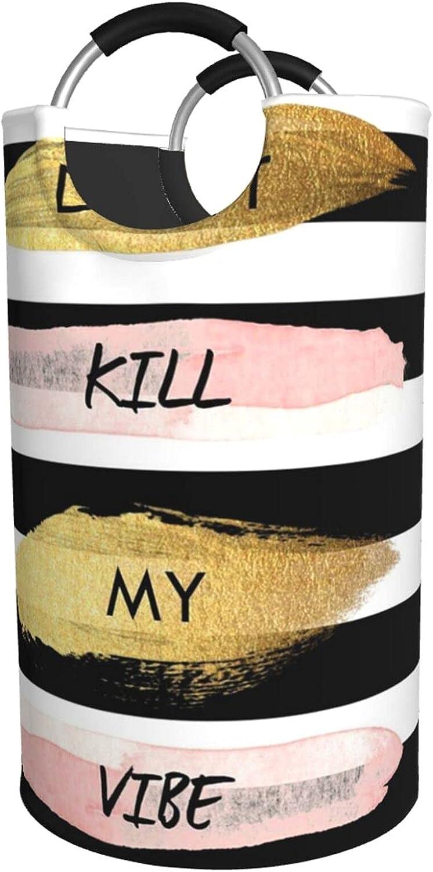 Ranking TOP8 Stripe Don'T Kill My Vibe Laundry Waterproof Special price Print Laund Hamper
