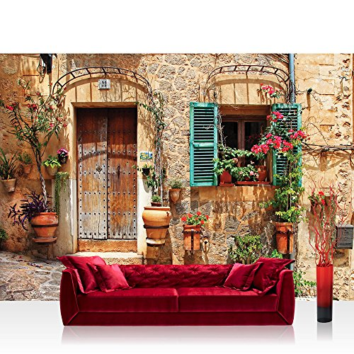 Fototapete 368x254cm PREMIUM Wand Foto Tapete Wand Bild Papiertapete - Stadt Tapete Mittelmeer mediterran Haus Tür natural - no. 3298