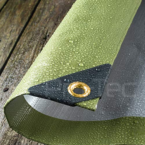 270GSM Tarpaulin Extra Heavy Duty Builders Waterproof Ground Sheet Cover Green & Silver (6ft X 10ft - Green/Silver)