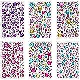 Peachy Keen Crafts 6 Sheets Self Adhesive Jewels - Rhinestone Sticker Gems - Multi Color Gemstone Embellishments