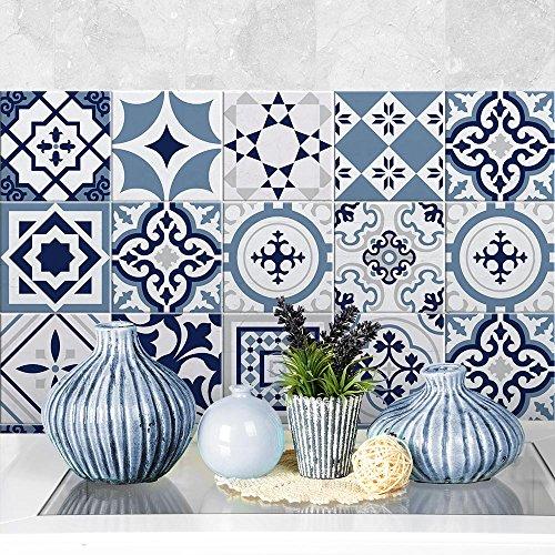 Adesivi per piastrelle bagno e cucina 32 Pz 15x15 cm - PS00099 Made in Italy - Mattonelle autoadesive in PVC impermeabili antigraffio Wall stickers cementine peel and stick