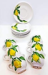 6 Tazzine da caffè + Piattino Coordinato Linea Limoni Ceramica Handmade Le Ceramiche del Castello Made in Italy Dimensioni...