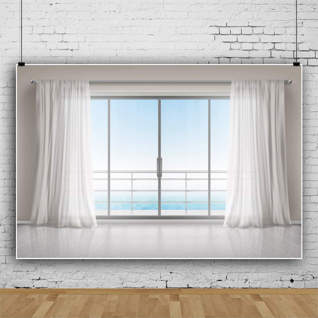 Laeacco 7x5ft Sea-View Room Window View Backdrop Seaside Hotel Room Interior Background Vinyl Bright French Window White Curtains Blurry Seascape Children Adults Portraits Holiday Vacation Photo