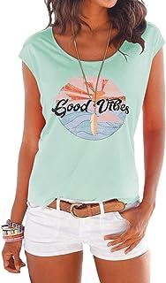 Camiseta de manga larga para mujer, para verano, cuello redondo con estrellas