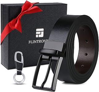 flintronic Cintura Uomo in Pelle, 125cm Moda Cintura a Cricchetto per Lavoro Casuale Jeans con Portachiavi e Confezione Re...