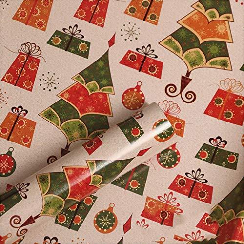 SZQ-Inpakpapier Cartoon handgeschept papier, Bestek Gift Box inpakpapier Kerst Bouquet Packaging Material Shop Raamdecoratie Paper Cadeaupapier (Color : D, Size : 52 * 75CM)