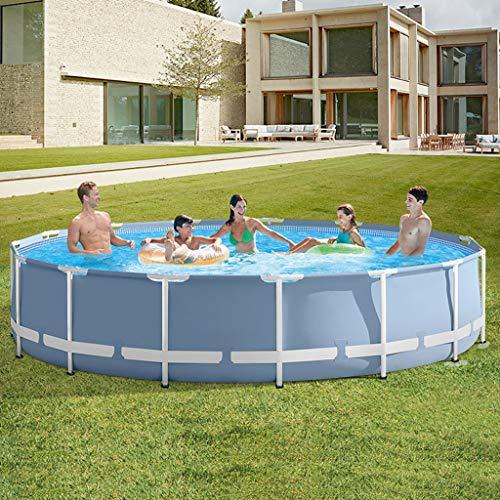 Pool Toy Piscine Ronde Cadre Piscine Hors-Sol Set Modèle étang Famille Piscine Filtre Pompe Cadre Métal Structure Piscine Grey-366 * 76cm