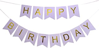 LOVELY BITON Large Purple Happy Birthday Wall Banner, Party Decorations, Versatile, Beautiful, Swallowtail Bunting Flag Garland Surprise Ideas