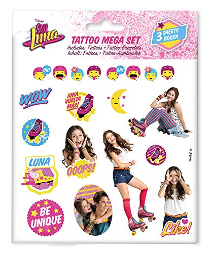 Craze 55442 - Tattoo Mega Set Disney Soy Luna, 3 Bögen, sortiert