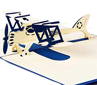 Pop Up 3D Greeting Card, Airplane Creative Handmade Gifts Card Paper Postcard with Envelopes for Kids Birthday, Graduation, Valentine's Day, Fathers Day, Work Anniversary - Pilots, Plane Travelers