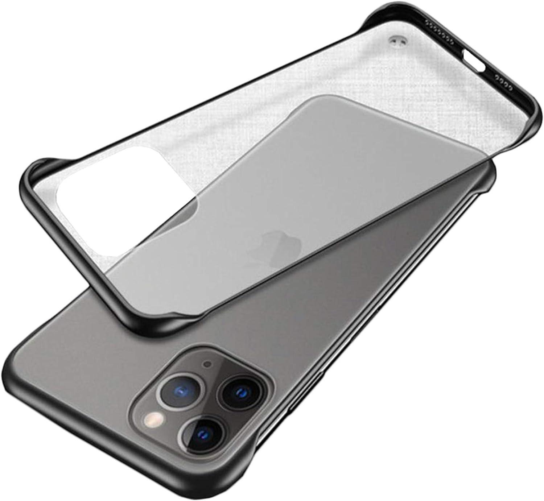 Halnziye Ultra Slim Clear case for iPhone 12 pro max case Frameless Matte Hard PC Shock Absorption TPU Bumper (Black)