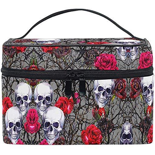 Schedel Rozen Reis make-up tas tas tas tas trekkoffer toilettas organizer voor vrouwen meisjes