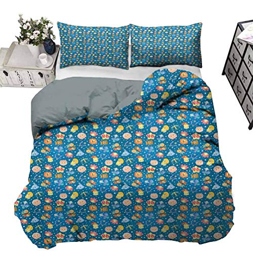 UNOSEKS LANZON Quilt Cover Cute Zodiac Symbols Childish Kids Design Cartoon Style Horoscopes Stars on Blue Premium Duvet Cover Soft Lightweight Comfortable Multicolor King - 264 x 230 CM