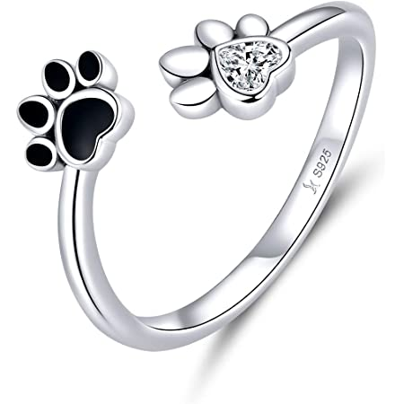 Cute Puppy Dog Cat Pet Paw Print Ring Sterling Silver 925 for Women Girls Adjustable Fake CZ Diamond Animal Footprint Finger Wrap Band Promise Engagement Rings Fashion Jewelry Gifts