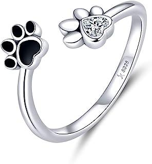 GDDX Pollice Serpente Paw Print Cat Anelli a mano regolabili Sterling Silver Finger Animal Ring Gioielli Regali per le donne