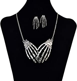 FXmimior Silver Skeleton Hand Shapped Halloween Gothic Necklet Rock Punk Accessories Women Girl (necklace& earrings)