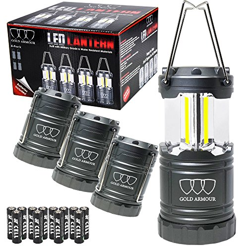 Brightest LED Lantern - Camping Lantern - 4Pack Camping Gear Camp Equipment Camp Light for Camping, Emergencies, Great Gift Set (Gray) (cl60)