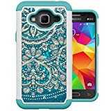 Galaxy J3 Case, J3 (2016) Case, MagicSky [Shock Absorption] Studded Rhinestone Bling Hybrid Dual Layer Armor Defender Cover for J3, J3 (2016), J3 V, Express Prime, Amp Prime, Galaxy Sky - Flower