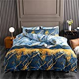 Nyescasa Biancheria da letto 135 x 200 cm, effetto marmo, blu e oro, moderna, in microfibra, copripiumino singolo con cerniera e federa 80 x 80 cm