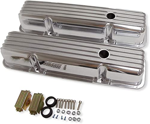 DEMOTOR PERFORMANCE Finned Tall Polished Aluminum Valve Covers with Holes for SBC Small Block Chevy 283