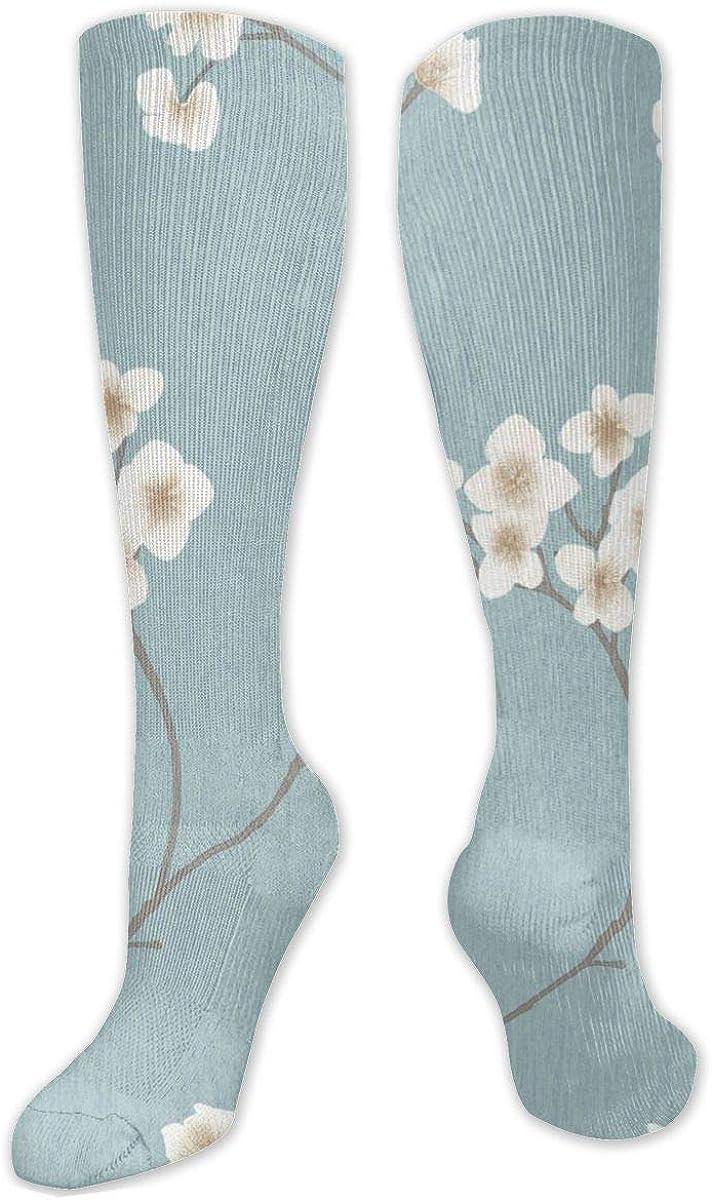 Radiance Blue Cream Pattern Knee High Socks Leg Warmer Dresses Long Boot Stockings For Womens Cosplay Daily Wear
