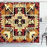 N\A Pfeil Duschvorhang, inspirierte Muster Grafik Design abstrakte Kunst mit Erdtönen, Stoff Stoff Badezimmer Dekor Set mit Haken, Creme Merigold
