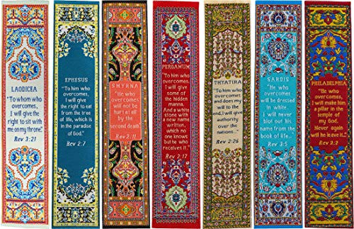 The Seven Churches of Revelation, Bulk Pack of 7 Woven Fabric Bookmarks, Signs of The End Times, Promises of The 7 Churches, Silky Soft Bookmarker for Novels, Books, & Bibles