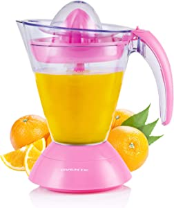 OVENTE Electric Citrus Juicer 34 Ounce with 2 Auto Reverse Cones and Strainer with Pulp Control, Quiet and 25 Watts Powerful Motor Makes Juicing Easier, Easy to Clean and Portable, Pink (JE1034P)
