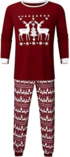 Family Matching Christmas Outfits Cartoon Santa Deer Printed Top Blouse + Stripe Pants