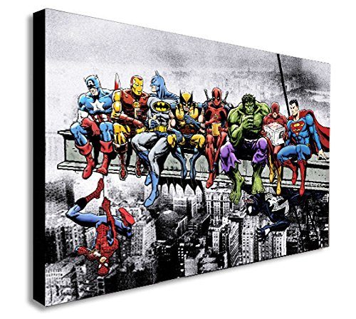 Kunstdruck auf Leinwand, Motiv DC Marvel Superheroes Lunch Atop Skyscraper, A1 32x24 inches