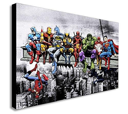 FAB Marvel DC Comic Super Heroes - Lienzo enmarcado para pared, varios tamaños, blanco y negro, A1 32x24 inch
