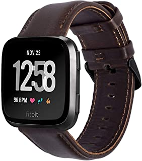 KADES for Fitbit Versa Bands, Classic Leather Band Replacement Strap Compatible for Fitbit Versa 2/ Fitbit Versa Lite Edition Smart Watch Men Women (Coffee Band+ Black Buckle)