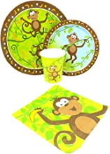 Blue Orchards Monkey Party Standard Party Packs (65+ Pieces for 16 Guests!), Jungle Party Tableware, 1st Birthday Supplies, Monkey Baby Shower Decorations