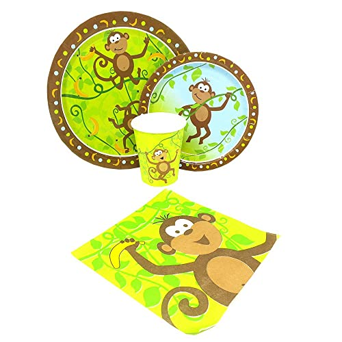 Blue Orchards Monkey Party Standard Packs 65 Pieces For 16 Guests