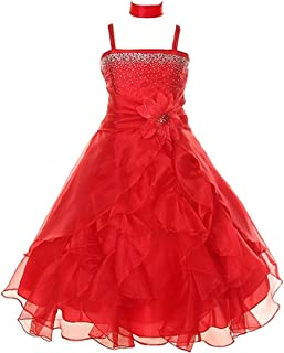 Girls Cascading Crystal Organza Rhinestone Party Dress