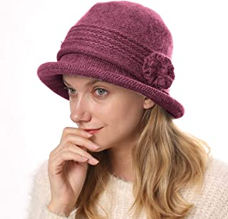 Womens Winter Knit Bucket Hat Vintage Floral Bowler Bowler Caps