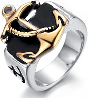 Men's Vintage Gothic Gold Signet Anchor Nautical Rope Titanium Steel Nautical Rings US Size 8-13